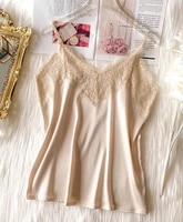 2021 crop tops women silk tank top blouse fashion french style deep v lace sexy short shirt lingerie soft for women tops cropped