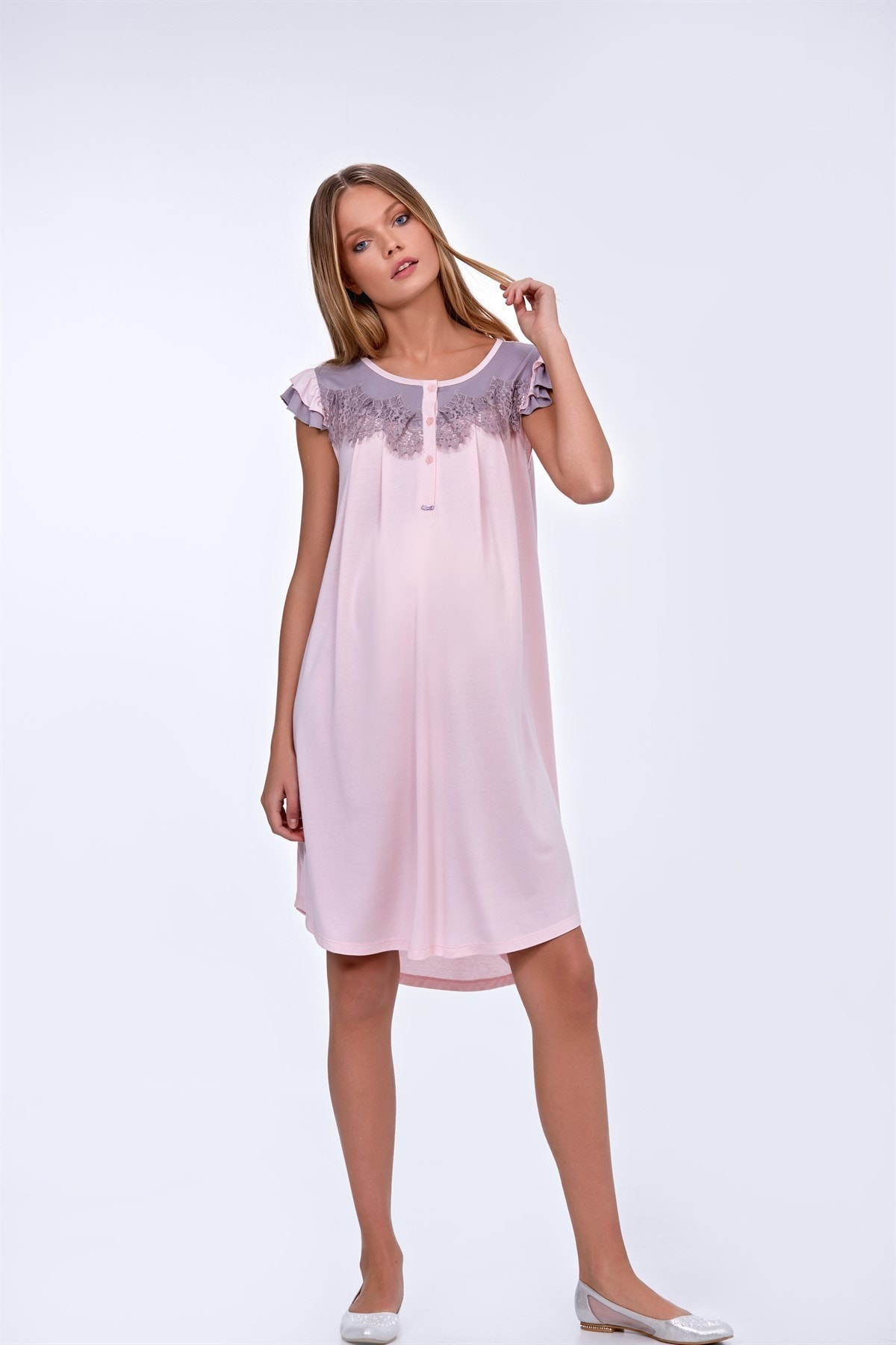 Julia Puerperal Nightgown Dressing Gown Kit Powder Pregnant enlarge