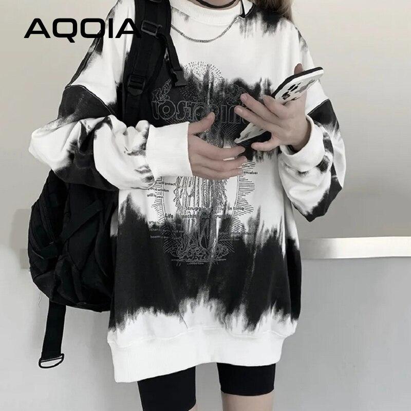 Inverno streetwear a virgem mary impressão solta oversize feminino hoodies tie dye camisola fina 2020 plus size pullovers femininos