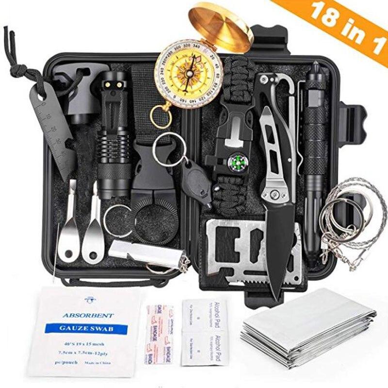 18 En 1 Kit de supervivencia de emergencia para aventuras herramientas para exteriores herramientas de defensa táctica profesional con cuchillo linterna con brújula