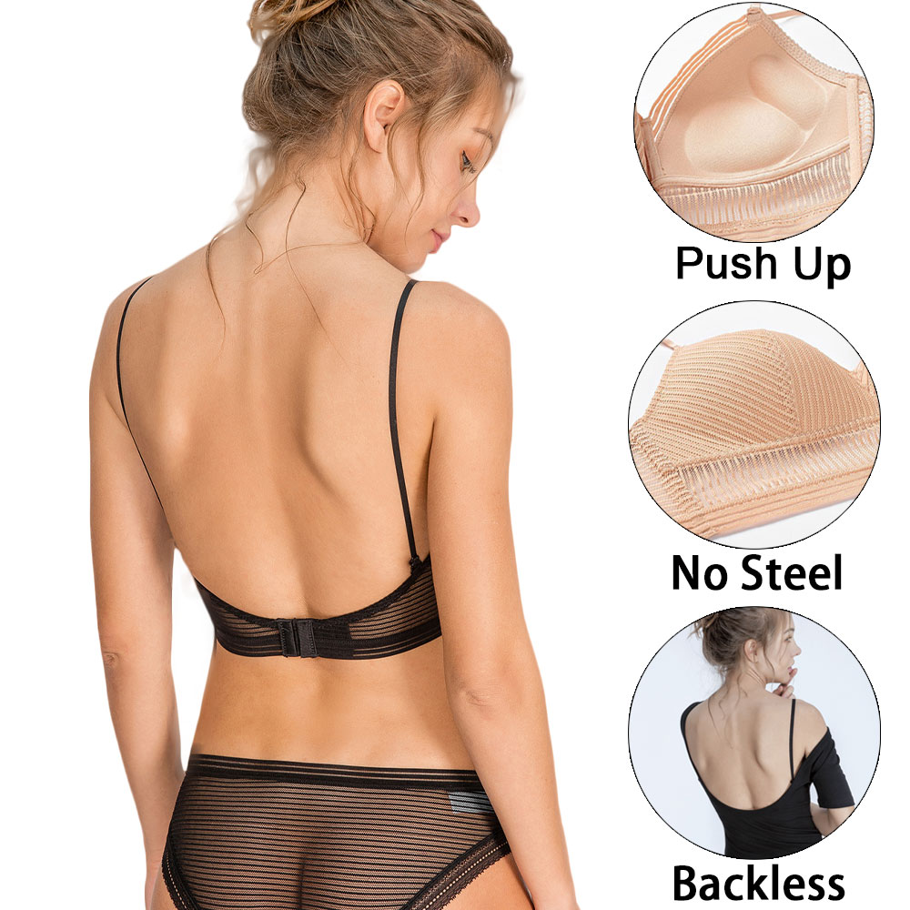 Sexy Invisible Bra Backless Strapless Brassiere Thin Underwear Low Back Mesh Lace Bralette Women Lingerie Push Up Biustonosz