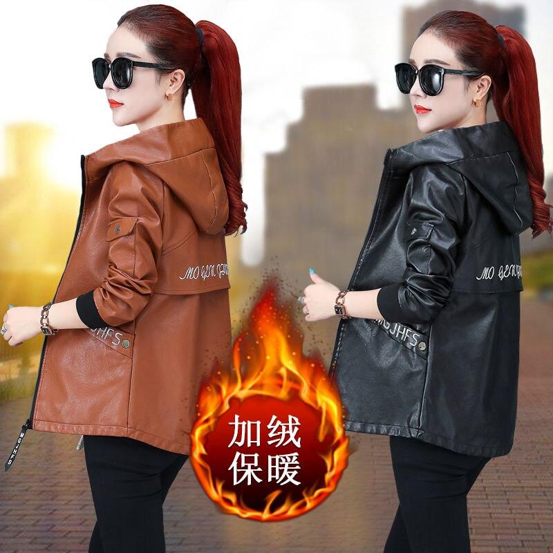 زائد المخملية سميكة سترة جلدية النساء لفصل الشتاء 2021 جديد غسلها بولي Leather سترة جلدية فضفاضة الكورية سترة جلدية واقية سترة