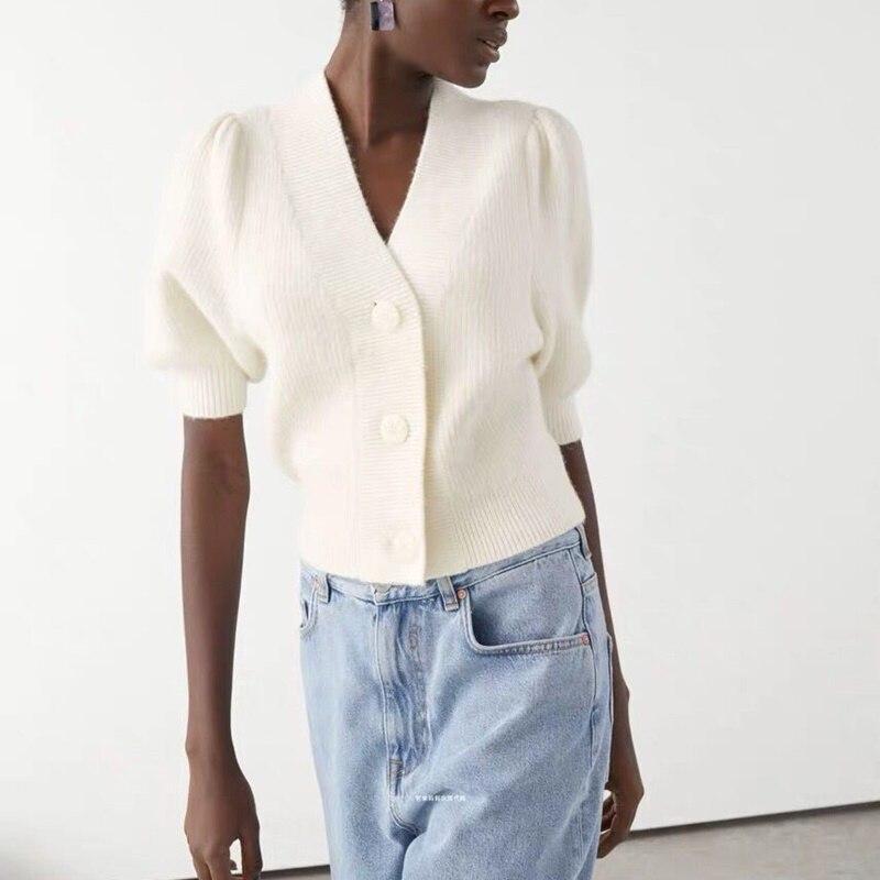جديد ربيع 2020 سترة علوية انيقة واحدة الصدر سترة سترة المرأة العميق الخامس الرقبة قصيرة الأكمام البلوز ملابس مكتب عادية