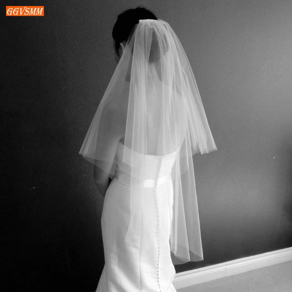 Élégant blanc deux couches voiles de mariage 120 CM doux Tulle coupe bord court ivoire voile de mariée avec peigne vendre bien accessoires de mariée