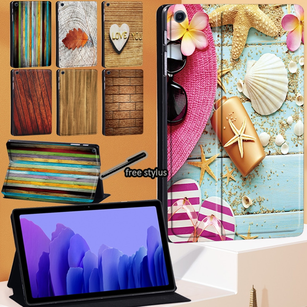 Tablet Case For Samsung Galaxy Tab A7 2020 10.4 Inch  SM-T500 SM-T505 Wood Series Leather Stand Cover+Stylus
