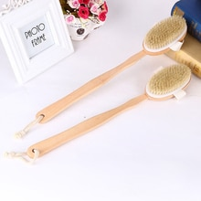 Long Wooden Handle Bath Body Brush Removable Bristle Exfoliating Dry Skin Back Scrubber Shower Clean