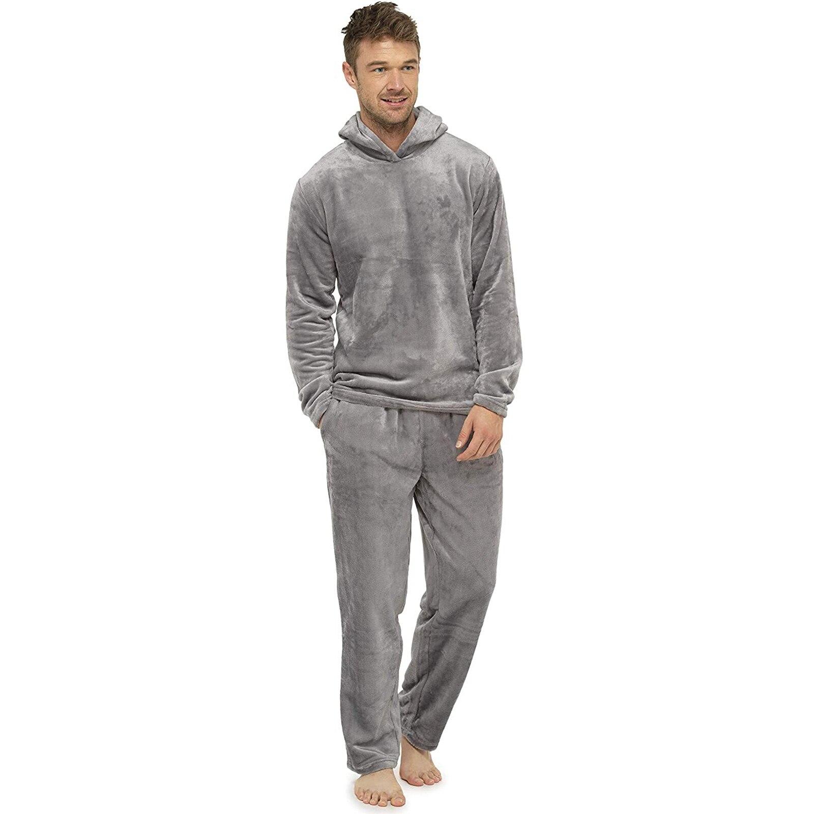 Мужчины теплые однотонные короткие с капюшоном комфорт замша одежда для сна дом Daliy пижамы костюм мужчины длинный рукав домашняя одежда пижама дом одежда +% 2320