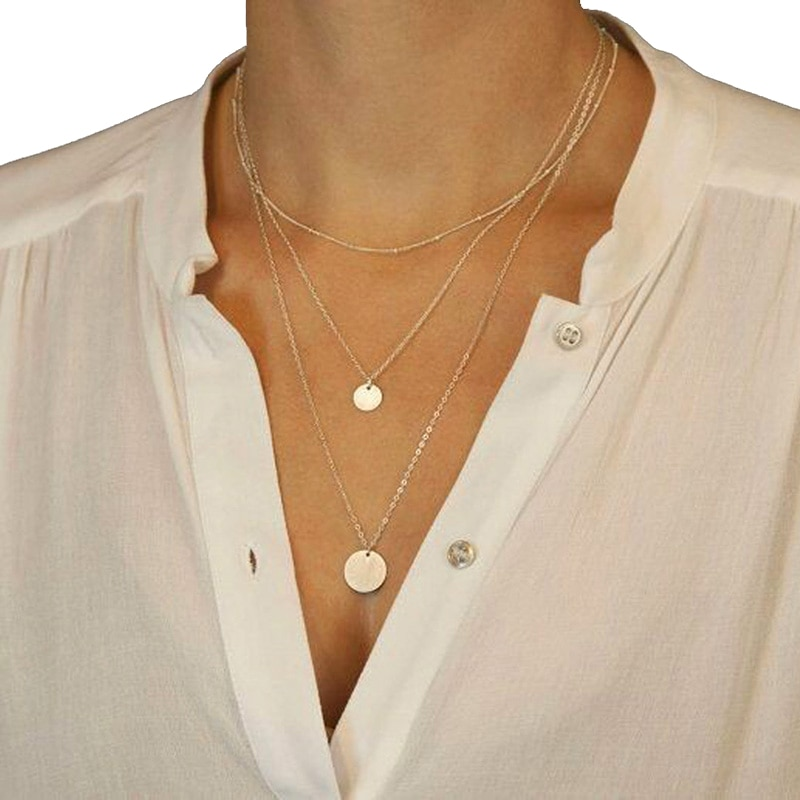 Nuevo Producto, collar pequeño con colgante de lentejuelas redondas dobles, collar de moda con moneda de oro, delicado collar largo para mujer, joya para el día a día