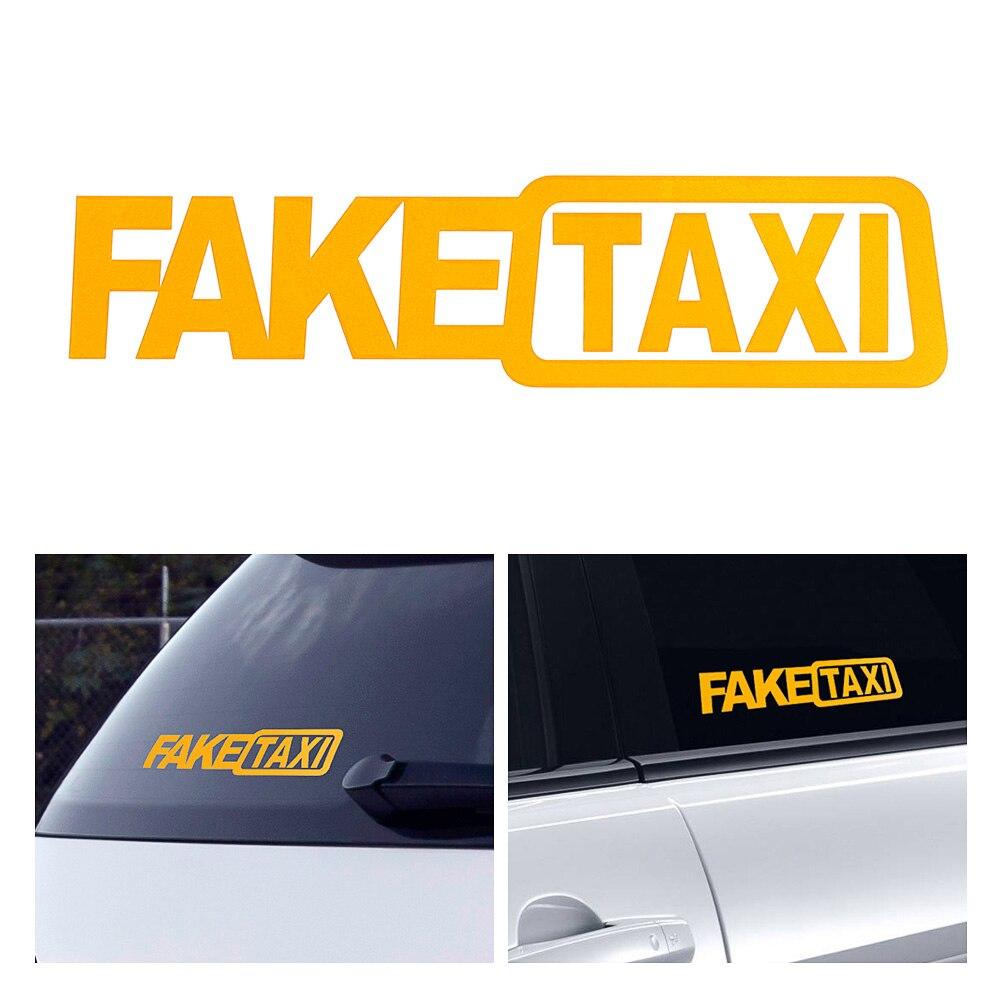 2 шт., забавная Наклейка на окно виниловые наклейки для автомобиля, стильная самоклеящаяся эмблема, наклейки для автомобиля, желтое поддельн... 2 шт виниловые наклейки на окна для автомобиля