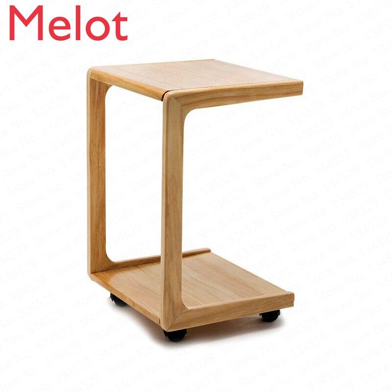طاولة قهوة صغيرة قابلة للإزالة مع عجلات وأريكة بجانب السرير ، وطاولة جانبية صغيرة من الخشب الصلب لغرفة النوم والمكتب