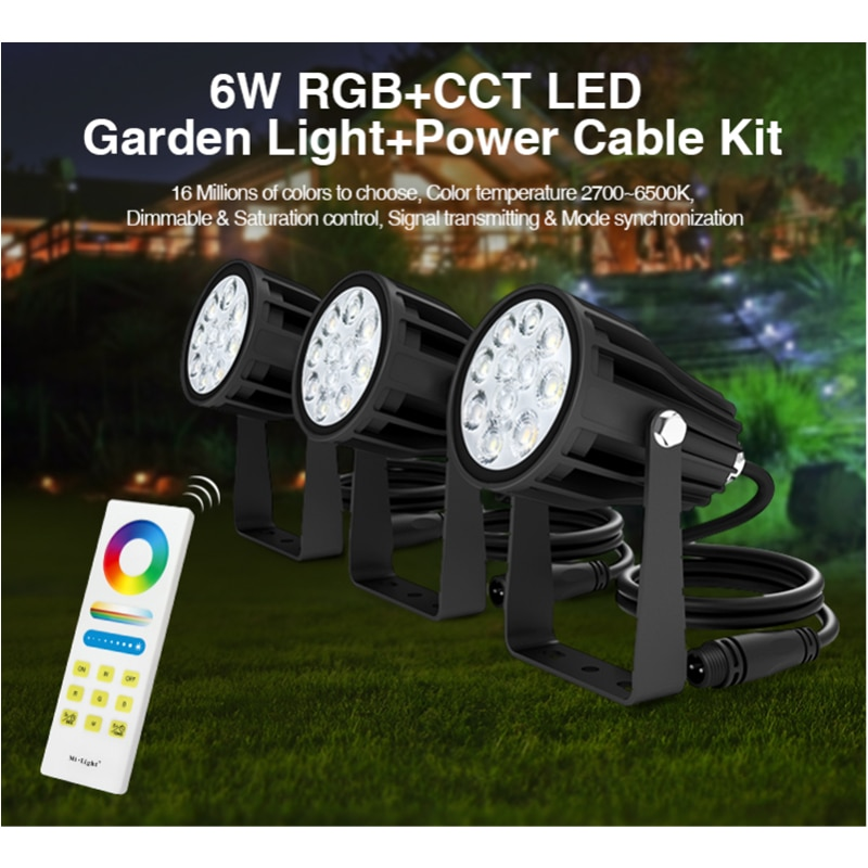 Miboxer FUTC08A DC24V 6W RGB+CCT LED Garden Lights+FUT088 2.4G Wireless Remote Power Cable Kit Led Outdoor Lamp Garden Lighting