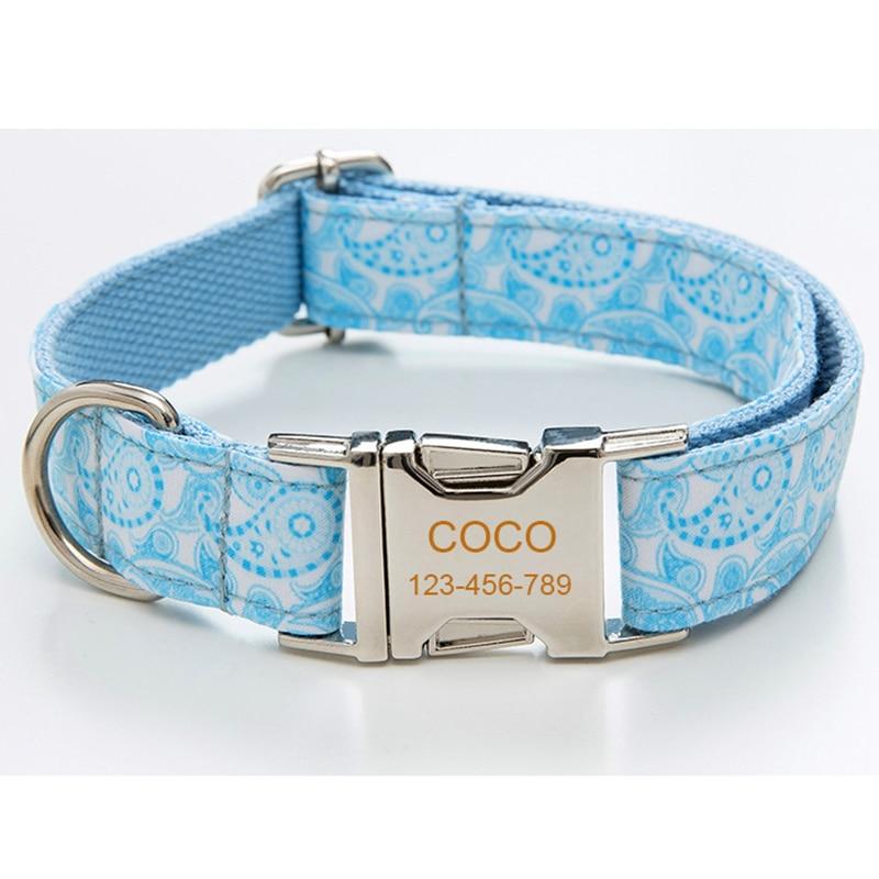 Collar de perro azul claro para perros medianos y grandes grabado gratis, Nombre de mascota, teléfono, identificación, collar con pajarita, regalos de navidad ajustables