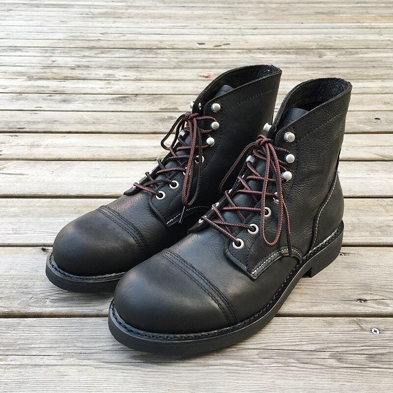 Nuevos zapatos de lujo de marca yominior, botas de hombre Vintage de cuero de vaca, botas al tobillo con ribete, vestido de alas, botas de moto vino tinto