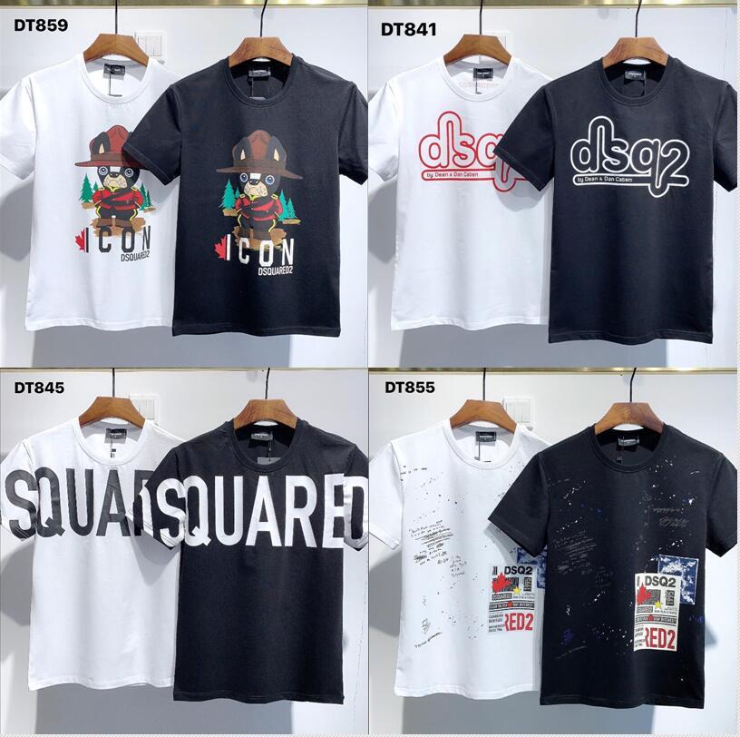Harajuku y2k قميص كلاسيكي للرجال والنساء من القطن مطبوع عليه حروف وياقة قميص بأكمام قصيرة نمط الهيب هوب Dsquared2