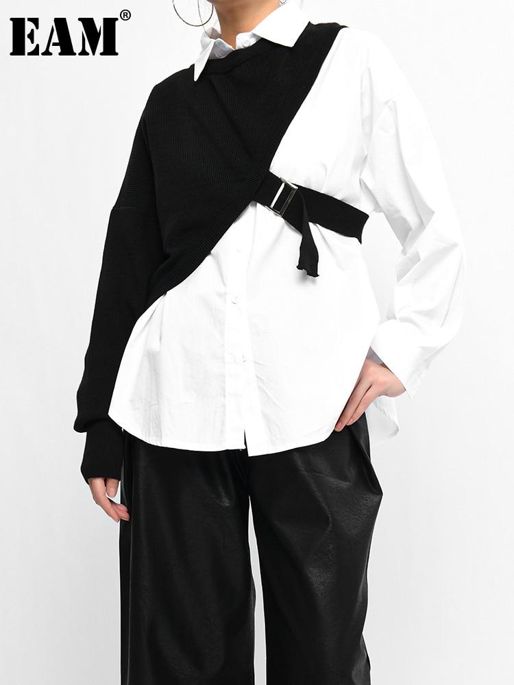 [EAM] بلوزات نسائية بيضاء بمقاس كبير وفضفاضة بأكمام طويلة وفضفاضة مناسبة للربيع والخريف 2021 1DC01900