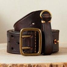 Cinturón de moda de lujo para hombre, hebilla de latón de doble Pin, cinturones Retro de cuero de vaca puro de primera capa con estilo de cuero genuino