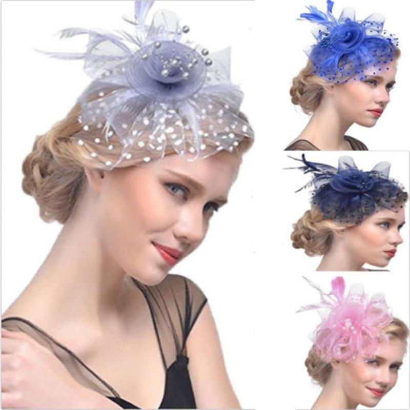 Moda mujer elegante pluma Fascinator flor velo Top sombrero diadema boda fiesta nuevo