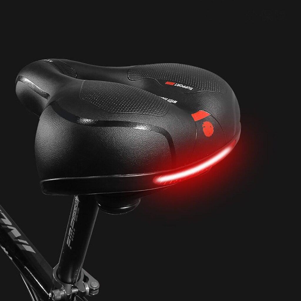 Sillín de bicicleta con luz trasera espesar ensanchar sillines de bicicleta MTB suave cómodo asiento de bicicleta ciclismo a prueba de golpes sillín de bicicleta