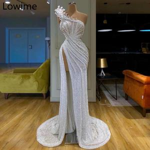 African Style Long Sparkly Prom Dress 2019 Muslim One Shoulder Sexy Evening Gowns With Pearls Sexy Women Dress Party Celebrity