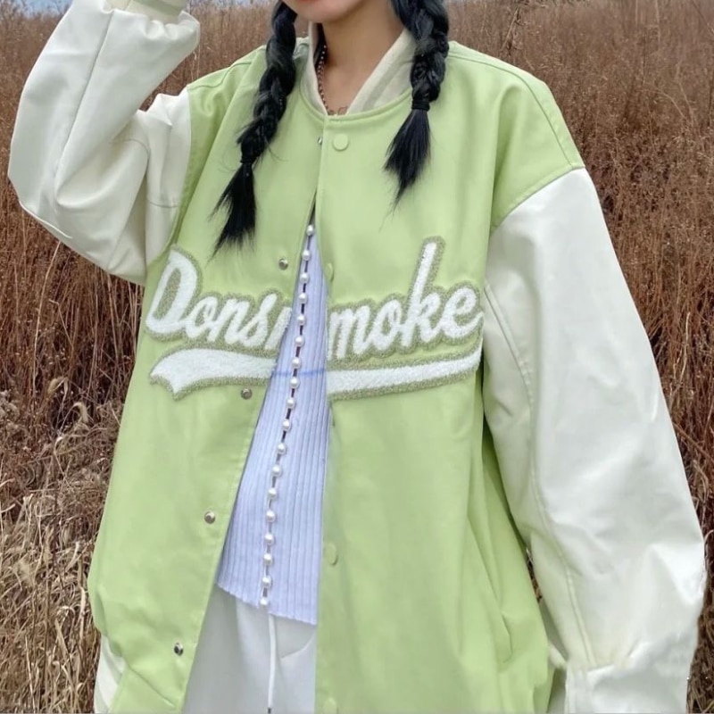 سترات النساء المتضخم البلوز السيدات الشارع الشهير إلكتروني مطرزة البيسبول هوديس الخريف الشتاء الكورية نمط ملابس خارجية