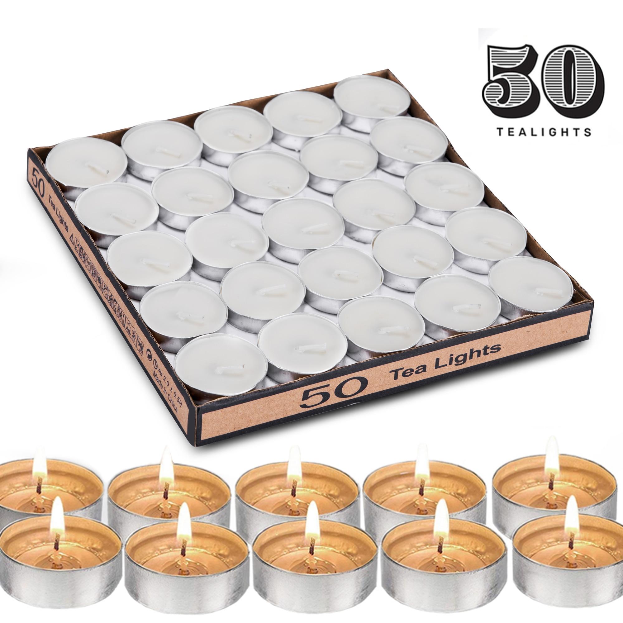 50 Uds velas de luz de té para románticas velas redondas de amor para boda velas para el hogar vela para fiesta decoración del Festival 4 horas tiempo de quemado