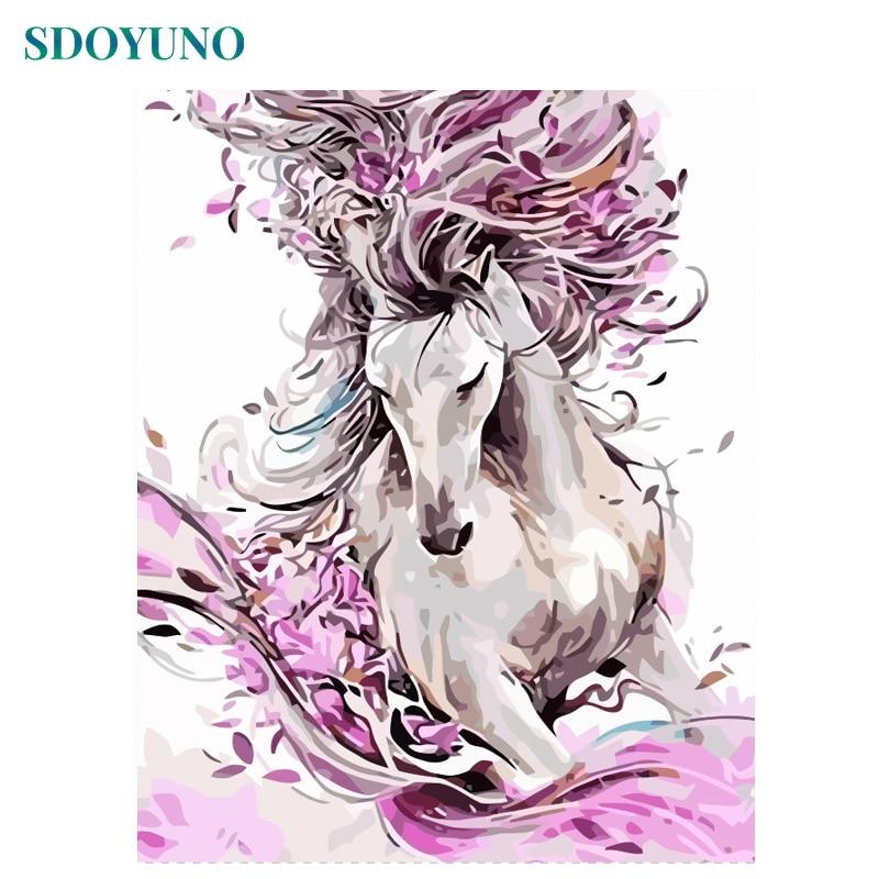 Sdoyuno pintura de 60x75cm, por números, animais de cavalo, faça você mesmo, sem moldura, imagens por números, arte de parede de lona decoração de casa