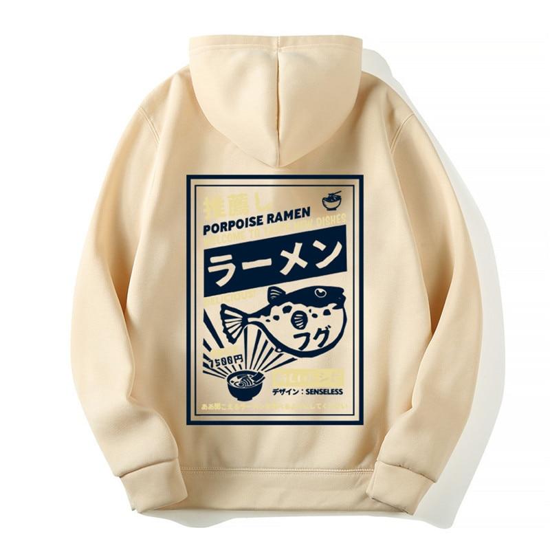 Funny Puffer Fish Ramen Print Fleece Hoodies Hip Hop Casual Pullover Hooded Sweatshirt Men Harajuku Casual Fashion Streetwear