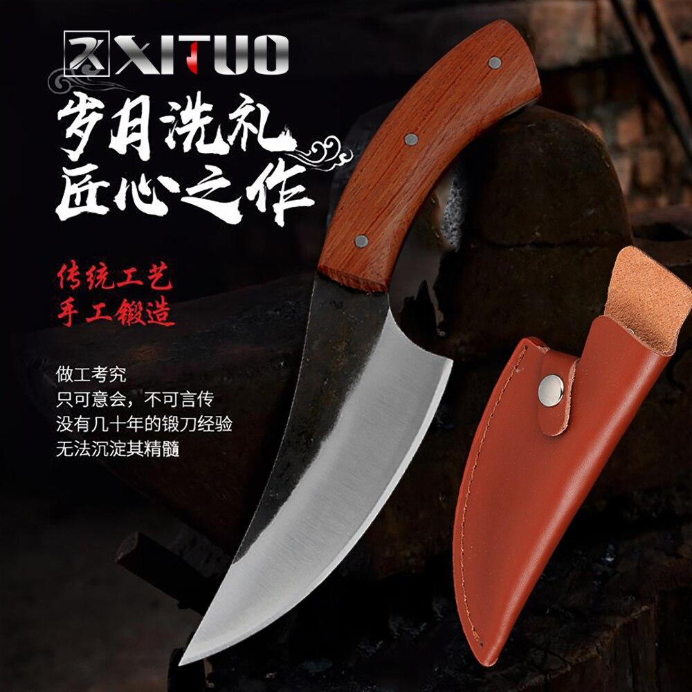 XITUO полностью Tang нож ручной работы кухонный нож шеф-повара кованый Высокоуглеродистый стальной нож для мясника Кливер для нарезки Инструме...