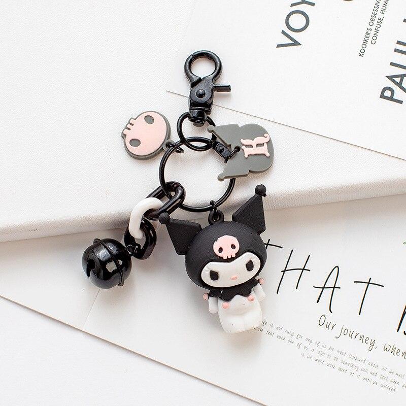 ¡Novedad! Llavero de goma con melodía de Kuromi, rana de dibujos animados, pudín, perro, pingüino, chicas, bolso de escuela, llavero colgante, regalo de cumpleaños