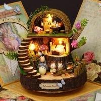 nordic retro handmade diy cartoon house exquisite rotating music box home decoration bedroom ornaments childrens birthday gifts