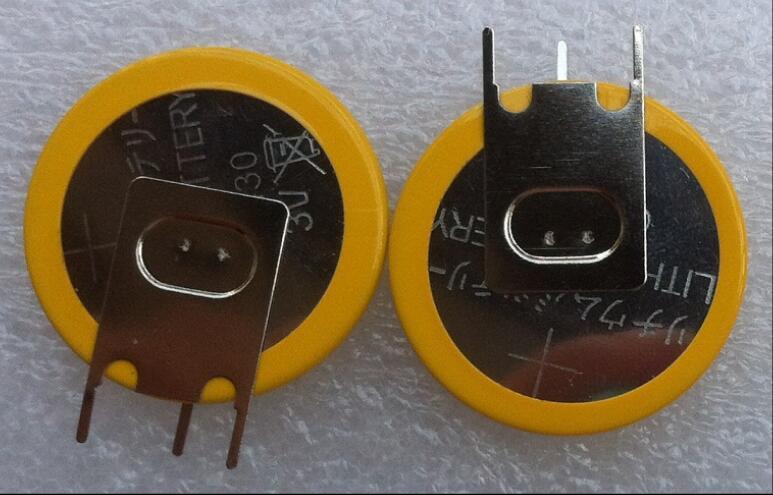 2 pces cr2430 button bateria 3v cr 2430 vertical três pés de solda pé botão bateria