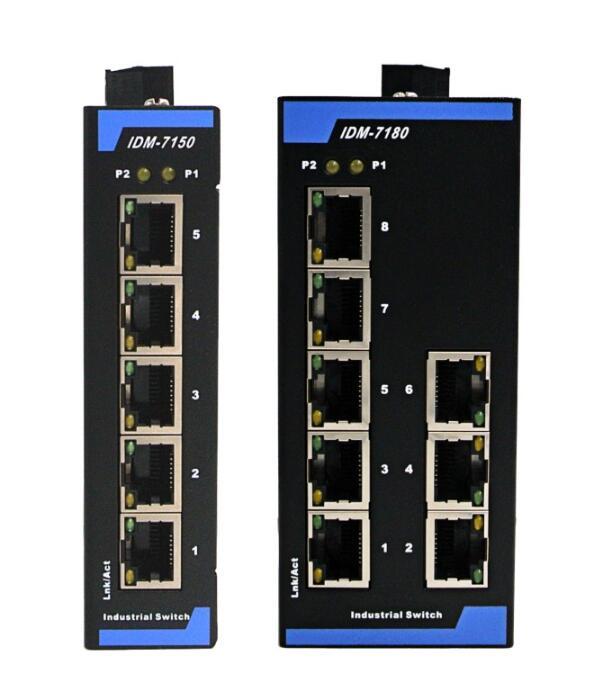 Interruptor Ethernet de grado Industrial, interruptor Industrial de 5 puertos y 8 puertos, interruptor de guía 12V24V IDM-7180 IDM-7150