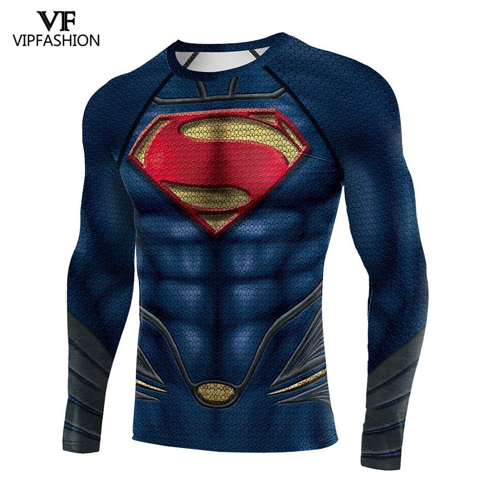 VIP Fashion 3D hombres Fitness camisa Cosplay superhombres manga larga raglán Europea carnaval superhéroe Tops Tees