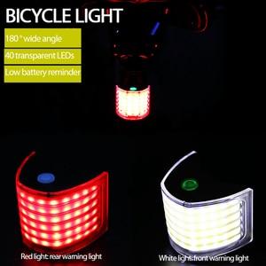 Bicycle Light Set Cycling Taillight Headlamp 180 ° Ultra Wide Angle Lamp 40LED Waterproof Explosion Flash Warning Light USB