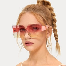 Fashion Oversized Square Rimless Sunglasses Women Brand Designer Flat Top Big Sun Glasses Female One