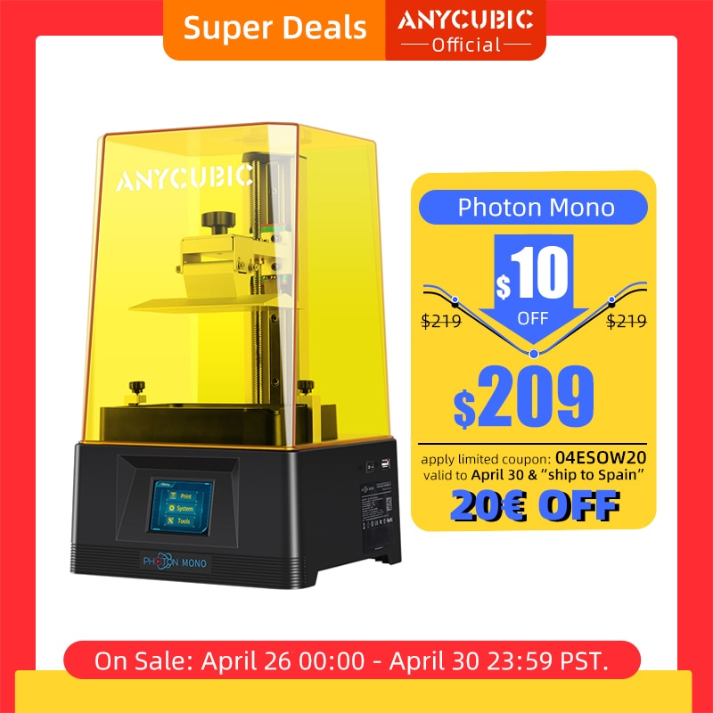 aliexpress - ANYCUBIC Photon Mono 3D Printer UV Resin Printers with 6 inch 2K Monochrome LCD Screen & Fast Printing Speed 130x80x165 mm
