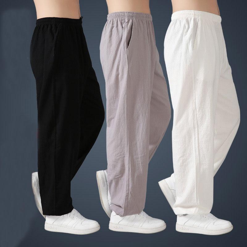 Свободные хлопковые льняные штаны для мужчин, шаровары, Мужские штаны Тай Чи, боевые искусства, кунг фу, летние брюки для бега йоги|Военные брюки| | АлиЭкспресс