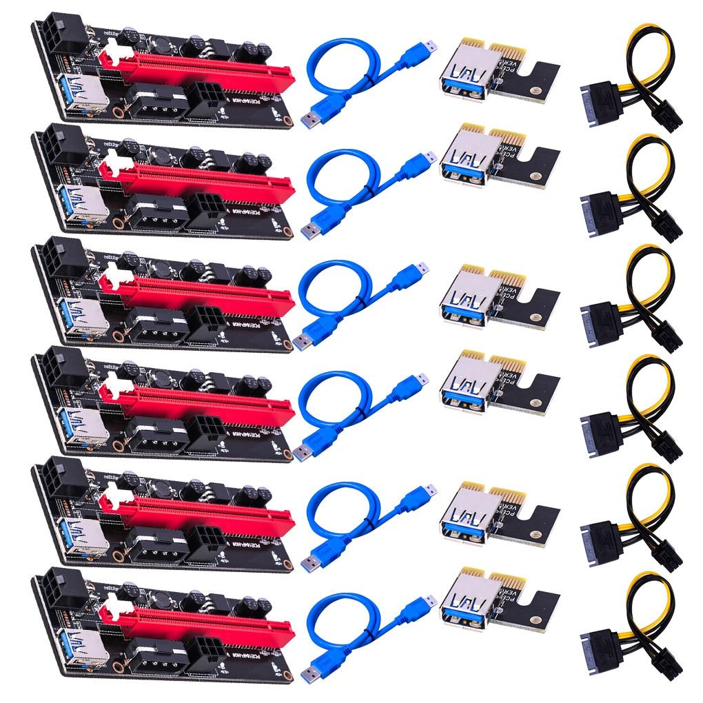 6pcs Newest VER009 USB 3.0 PCI-E Riser VER 009S Express 1X 4x 8x 16x Extender Riser Adapter Card SAT