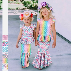 Summer Mermaid Tail for Child Girls Party Round Neck T-Shirt Skirt Cosplay Mermaid Swimwear Tails Beachwear