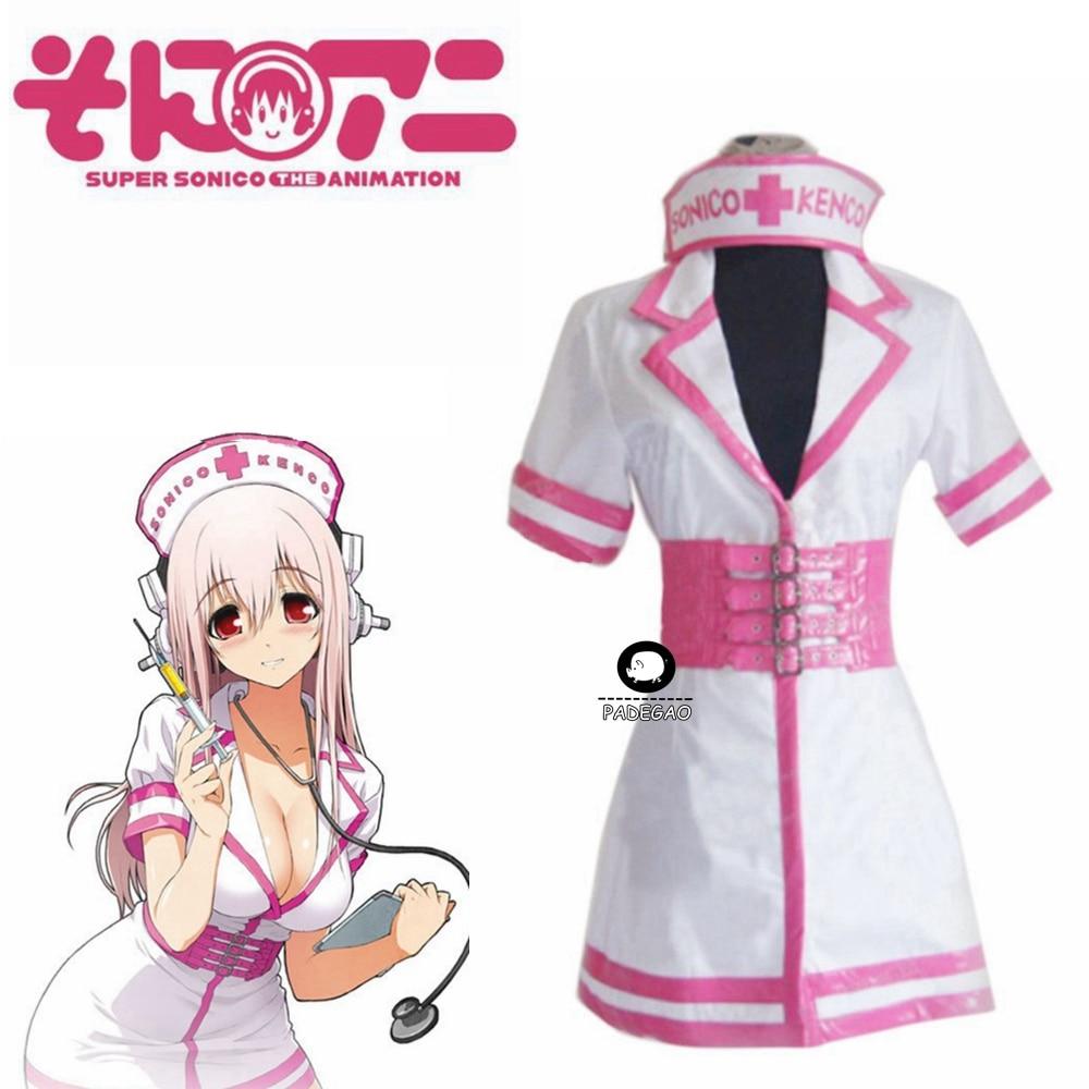 Super sonico sonicomi enfermeira uniforme cosplay traje outfit