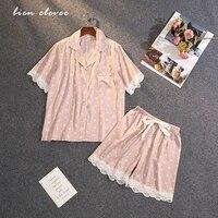 lace sleepwear pajamas pants satin silk nightwear lingerie summer sexy v neck sleeping night suit short sleeve femme 2 pieces