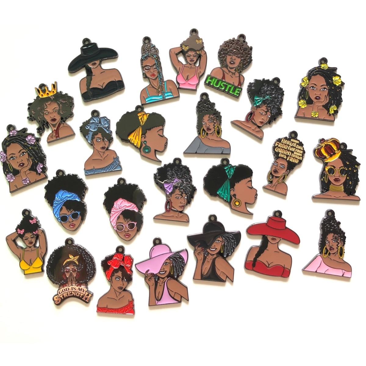 20-50 قطعة الأفريقية الأمريكية فتاة سوداء حلية قلادة الجملة مزيج حزمة للنساء مجوهرات سوار قلادة المفاتيح صنع