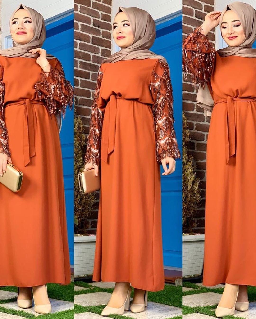 Dubái árabe Kimono musulmán Hijab vestido mujeres lentejuelas borla encaje-up Big Swing Abaya vestidos turco Kaftan túnica islámica ropa