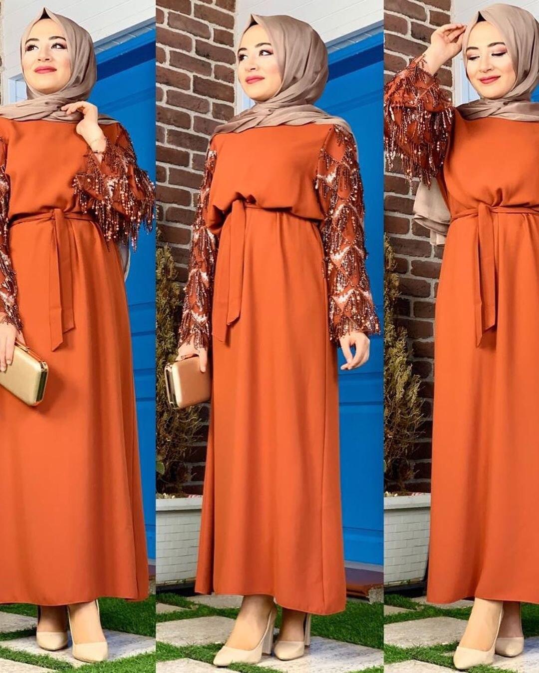Dubai Arab Kimono Muslim Hijab Dress Women Sequin Tassel Lace-up Big Swing Abaya Dresses Turkish Kaftan Robe Islamic Clothing