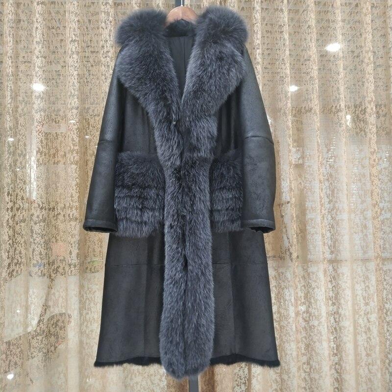 SHZQ حقيقية سترات من الجلد معطف الشتاء النساء مع الطبيعية الثعلب الفراء طوق موضة أنيقة جيوب الفراء الحقيقي جاكيتات الإناث الدافئة