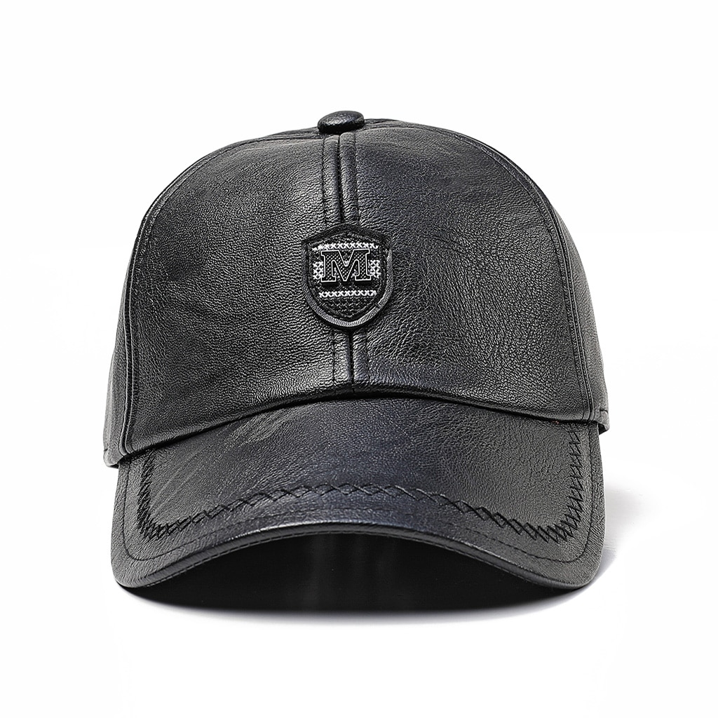 Leather Cap Men's Ear Protection Baseball Cap Autumn And Winter Outdoor Middle-Aged And Elderly Hats