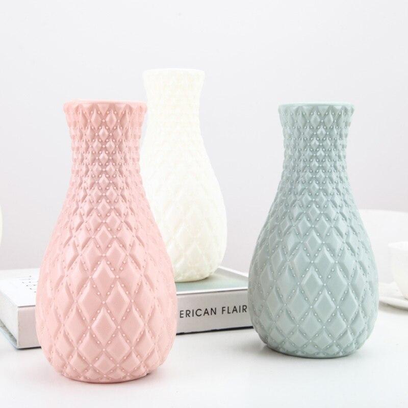 Nuevo jarrón Simple patrón de ratán florero contenedor de organización recto cilíndrico redondo azul Rosa Blanco # y