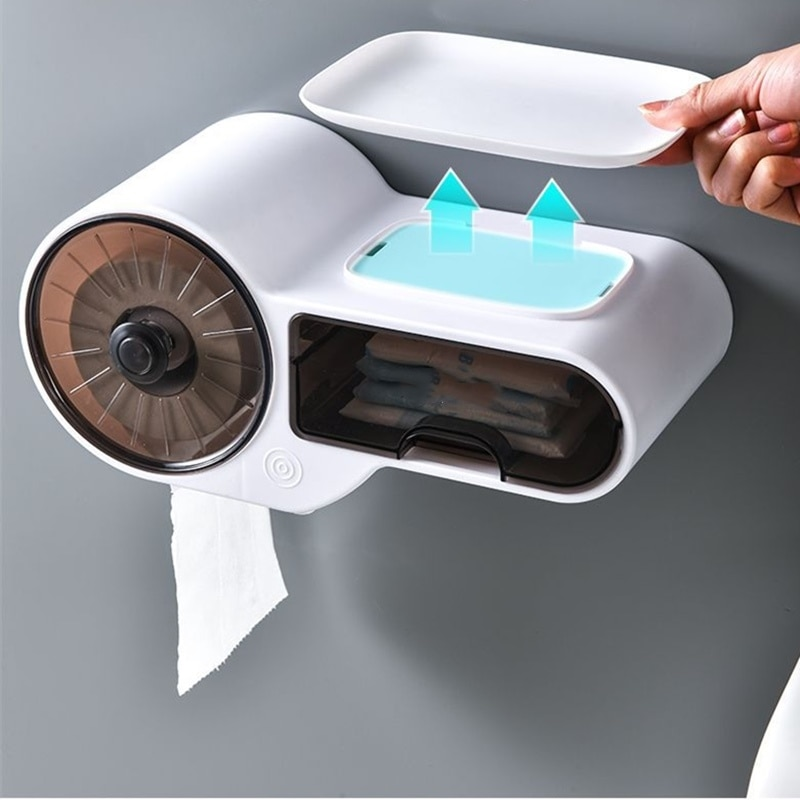صندوق المرحاض لفة اللكم حامل مقاوم للماء ورقة المحمولة رف حمام المناشف البلاستيكية الحرة الجرف متعددة الوظائف الحائط