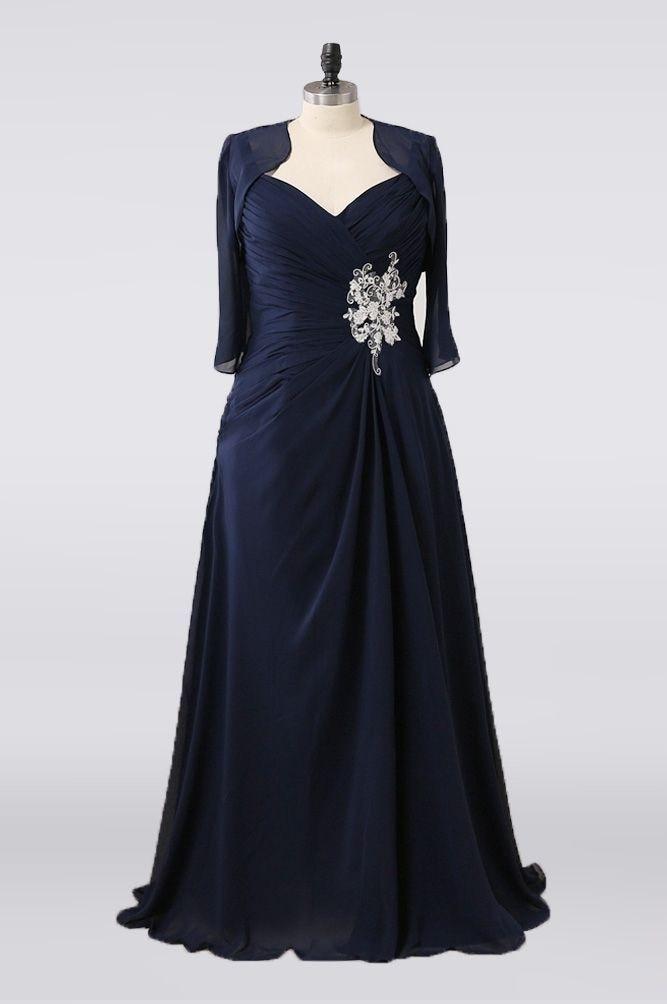 Long V-Neck Pleated Navy Blue Mother of Bride Dresses A-Line Floor Length Zipper Back Abendkleider R