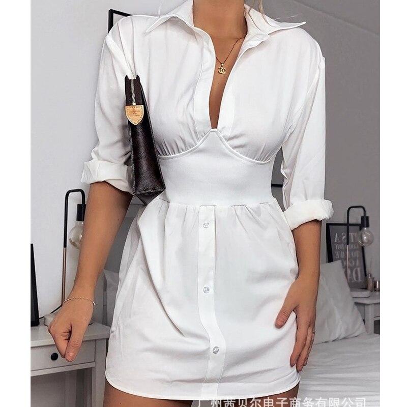 Wepbel белое платье-рубашка с длинными рукавами, летнее облегающее мини-платье с высокой талией, модная однотонная Повседневная Женская одежд...